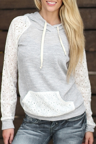 sweater grey fashion white lace jumper sporty girly cute stylish long sleeves hoodie adorable outfit
