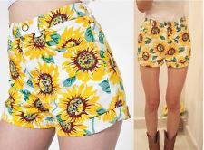 Lady Sunflower Print Denim High Waist Shorts Cotton Floral Pant ...