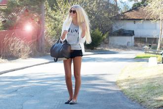 shirt shoes blazer white black shorts celine t-shirt lace shorts studded shoes sunglasses jacket