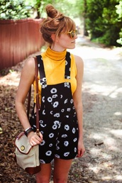 shorts,sunflower,black and white,overalls,pants,floral