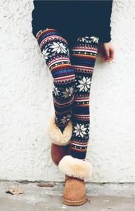 leggings christmas winer multi-color christmas leggings