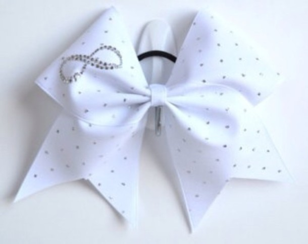 Jewels infinity cheerleading cheerleading cheerleading white sparkle cute i want this so - Cute cheer bows ...