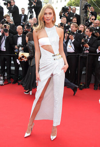 dress cut-out karlie kloss white dress white red carpet dress cannes