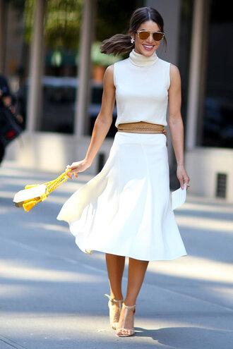 dress midi dress white white dress sandals streetstyle fashion week turtleneck dress
