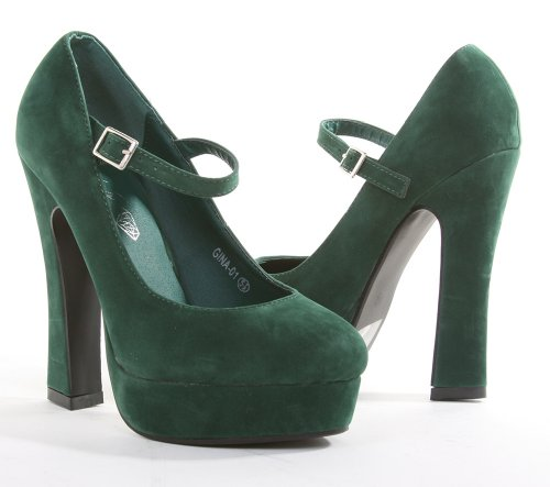 com: Green Suede Chunky Heel Mary Jane Platform Pump: Shoes