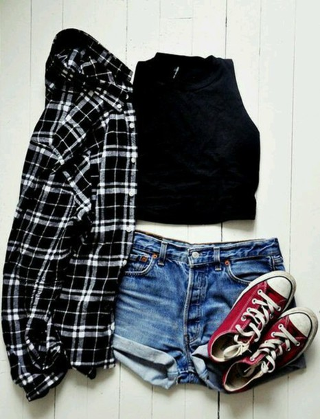 shirt shorts cardigan black crop top jacket top converse flannel shirt black and white
