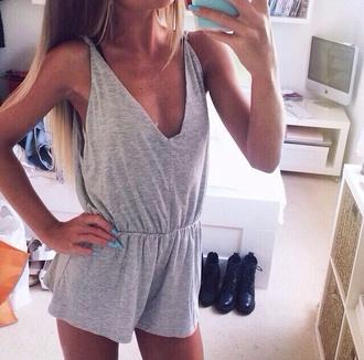 jumpsuit grey jumpsuit v neck casual short jumpsuit loose fit