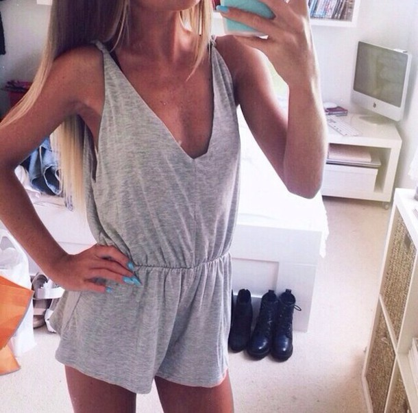 jumpsuit grey jumpsuit v neck casual short jumpsuit loose grey cute romper