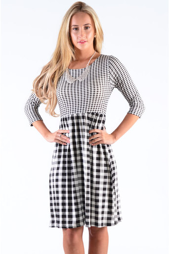 Ladies Quain Gingham Midi Skater Dress at Pop Couture UK