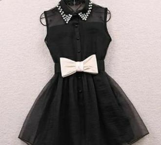 dress black dress black bow white glitter bottons glamour short dress little black dress