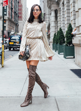 sydne summer's fashion reviews & style tips blogger dress bag sunglasses jewels shoes velvet over the knee boots over the knee boots mini dress fall outfits