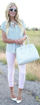top,airy,funny,flirty,gingham,light blue,jeans,pants,shoes