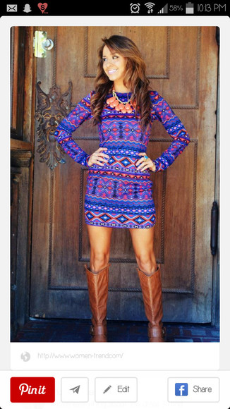 colorful vibrant cute dress aztec statement necklace boots fall dress