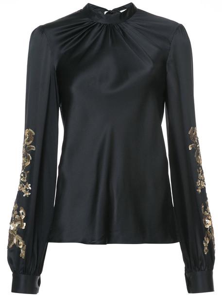Sachin & Babi blouse women embellished black silk top