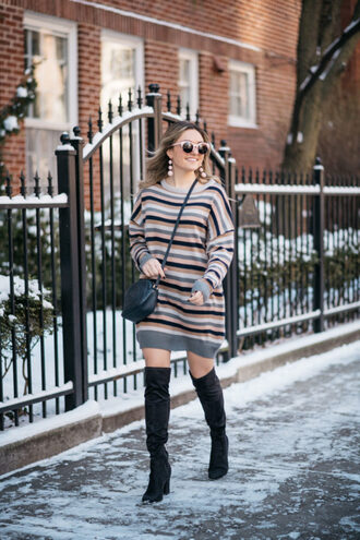 bows&sequins blogger coat sweater dress shoes bag sunglasses jewels winter outfits crossbody bag gucci bag sweater dress boots