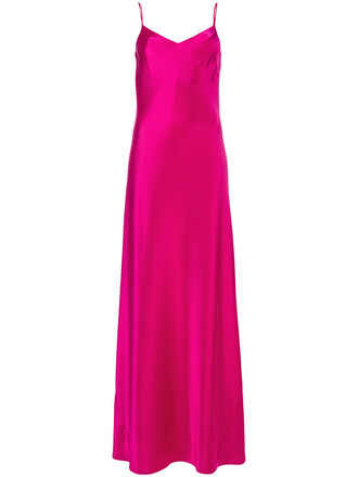 dress slip dress long women spandex silk purple pink