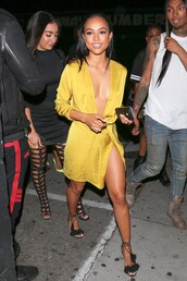 dress,karrueche,sandals,wrap dress,mini dress,summer dress,summer outfits,satin dress,mini wrap dress