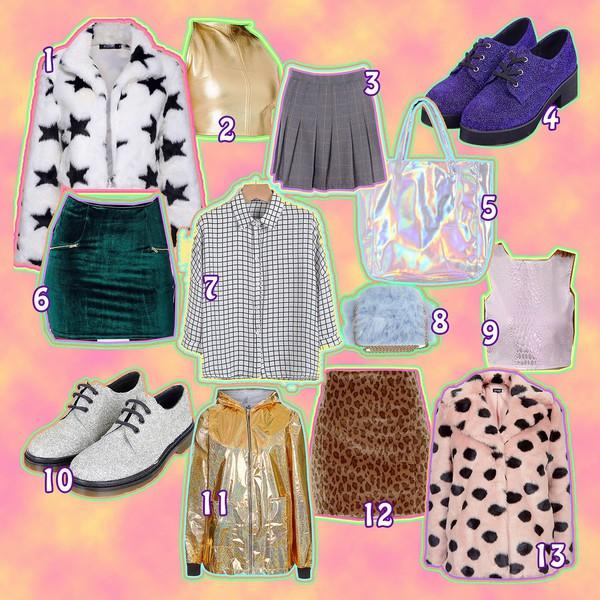 top bag blouse kayla hadlington blogger plaid skirt gold 90s style velvet