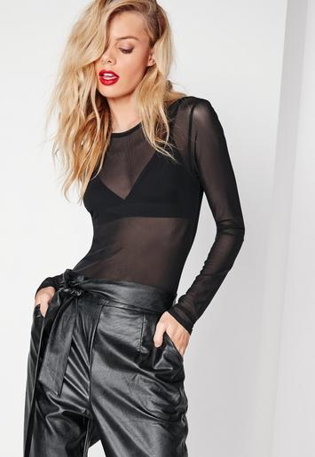 Missguided - Mesh Bodysuit Black
