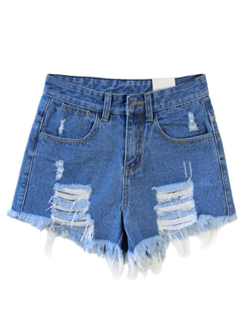Blue Loose High Waist Ripped Denim Shorts - Choies.com
