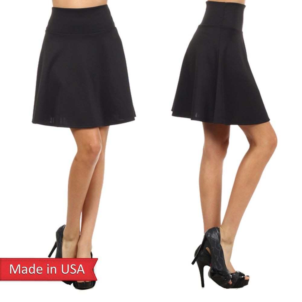 New Solid Black Cute High Waist Cool Girl Skater Mini Flair A Line Skirt USA