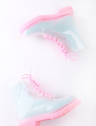 shoes transparent shoes clear boots flat boots pastel