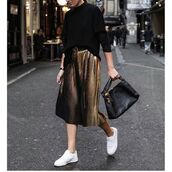 skirt,tumblr,gold skirt,midi skirt,pleated skirt,bag,black bag,top,black top,fall outfits,sneakers,low top sneakers,white sneakers