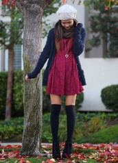 dress,red lace dress,lace dress,cardigan,knee high socks,red,boots,sweater,socks,back to school,underwear,hat