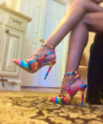 colorful pointed toe studded shoes heels t-strap pumps pointed toe pumps high heel pumps high heels striped heels slingbacks