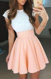 dress,homecoming dress,pearl pink homecoming dresses,capped sleeves homecoming dresses,draped homecoming dresses,mini homecoming dresses,o-neck homecoming dresses
