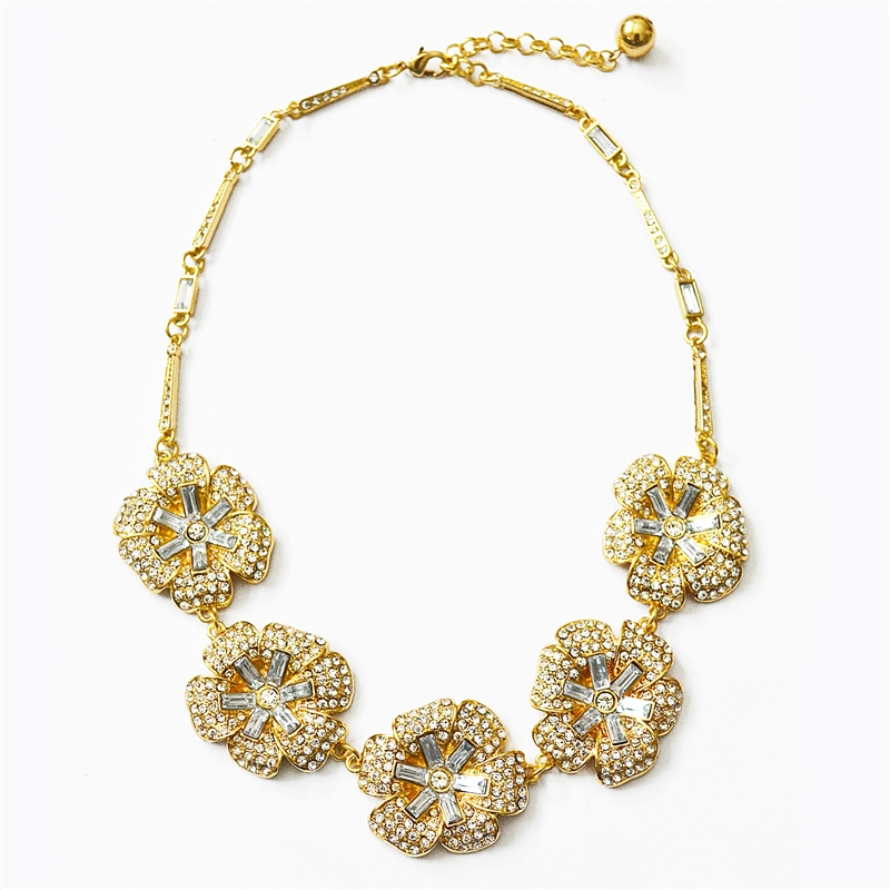 Pave Flower Statement Necklace - collar necklace bib with rhinestones by Shamelessly Sparkly