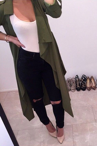 coat green long trench coat dark jeans denim ripped jeans black jeans high waisted jeans skinny jeans outfit outfit idea streetwear girly