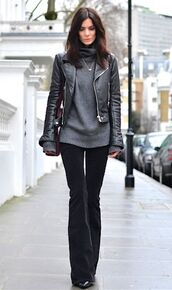 pants,grey sweater,leather jacket,black trousers,blogger