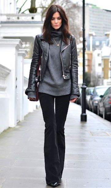 pants grey sweater leather jacket black trousers blogger
