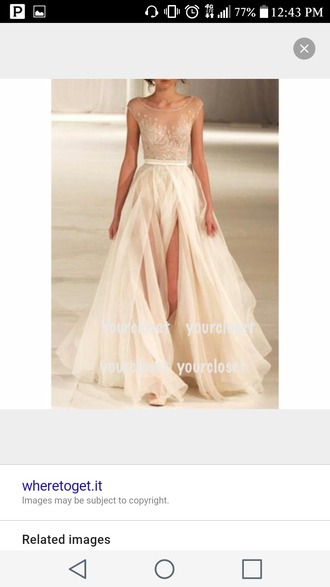 dress cream slit dress prom dress