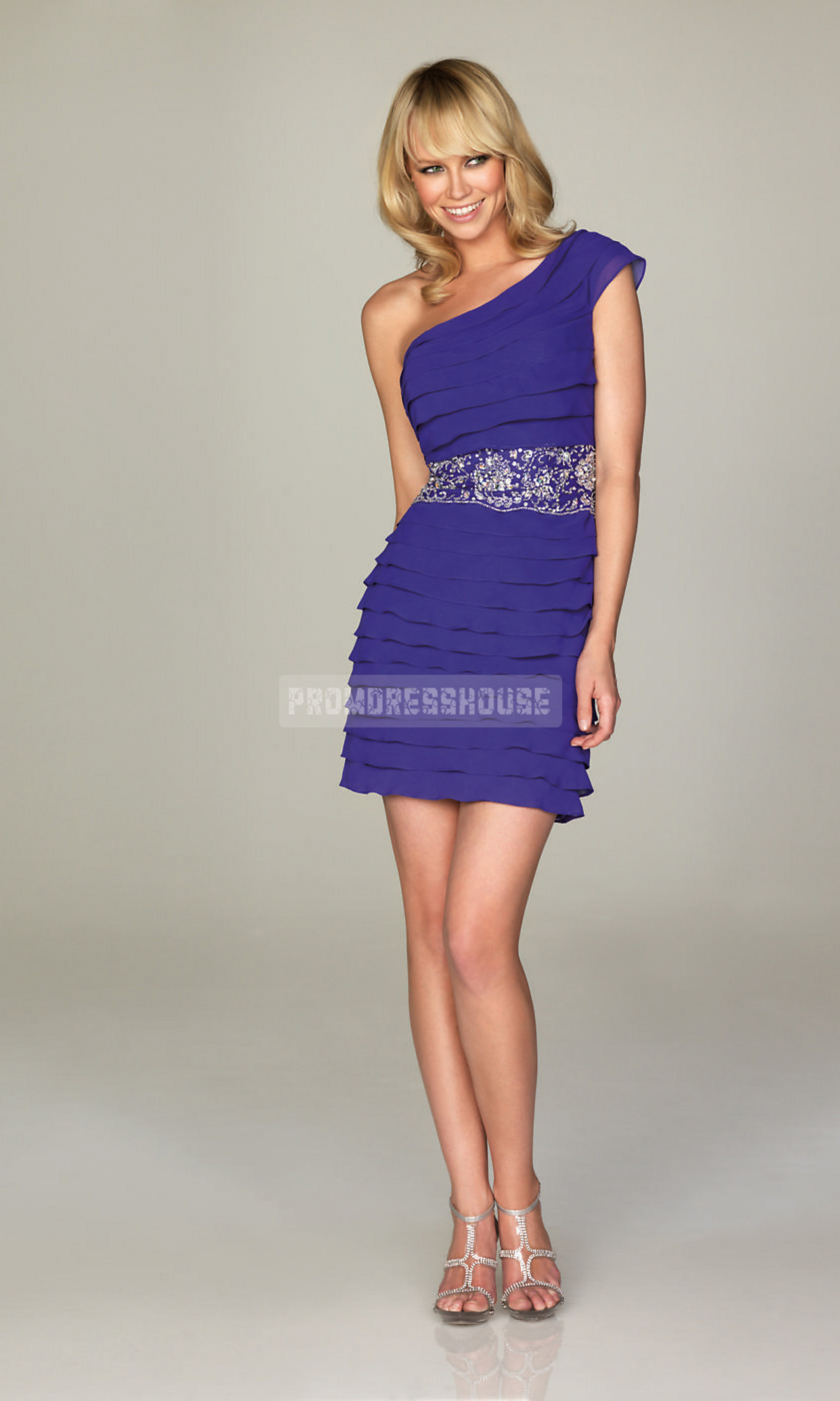 Chiffon Beading Column Tiers One Shoulder Short Length Cocktail Dress - Promdresshouse.com