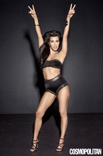 swimwear bandeau bikini bandeau kourtney kardashian editorial bikini bikini top bikini bottoms kardashians sandals