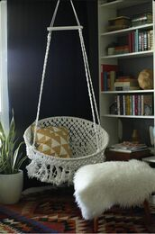 home accessory,hammock,hipster,lifestyle,boho,pillow,beach house,sheepskin throw,white,hanging chair,fuzzy blanket
