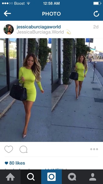 dress lime green neon short bodycon tight open back open back dresses stretchy long sleeve dress
