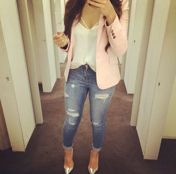 jeans cardigan blouse jacket top pink blazer womans blazer ripped jeans silver heels