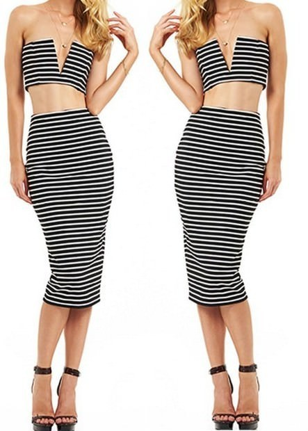 Outletpad   Striped Skirt And V-neck Top Matching Set Black   Online Store Powered by Storenvy