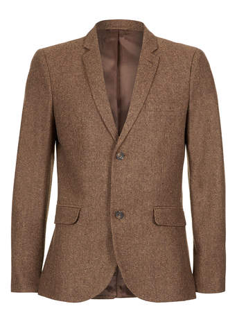 Brown Twist Donegal Blazer - TOPMAN USA