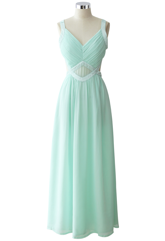 Your Smile Open Back Mint Chiffon Maxi Dress - Retro, Indie and Unique Fashion
