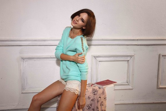 sweater mint aliexpress romwe jumpers rivets gold spring fashion freesize