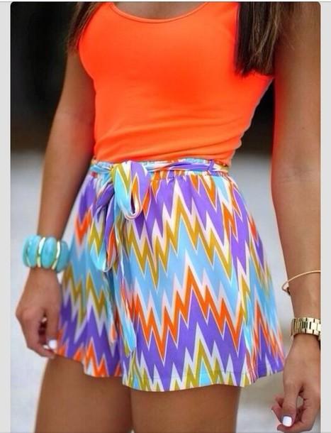 shirt orange tank top jewels shorts