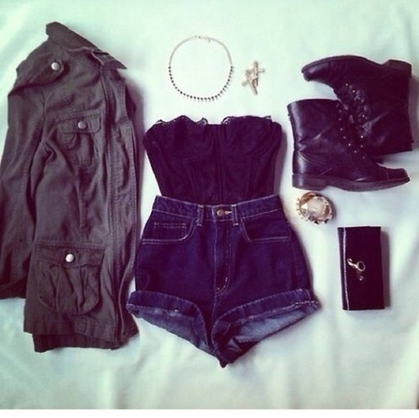 tank top shorts jacket