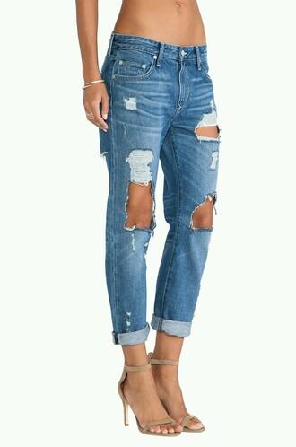 jeans boyfriend jeans ripped jeans blue