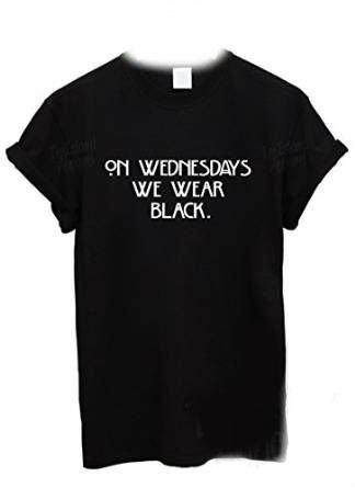 On Wednesdays We Wear Black T Shirt: Amazon.co.uk: Clothing