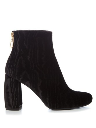heel boots ankle boots velvet black shoes