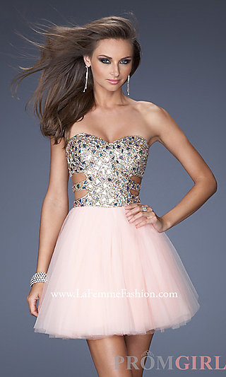 Strapless Sequin Short Dress, La Femme Sequin Dresses- PromGirl